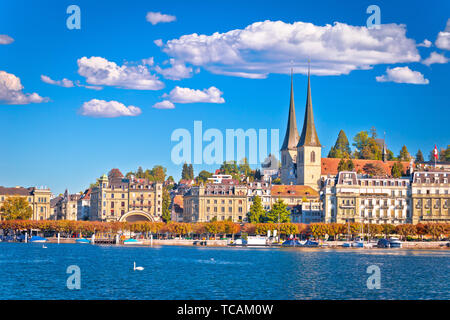 Idyllic Swiss town and lake Lucerne waterfront view, landscapes of Switzerland - Stock Image