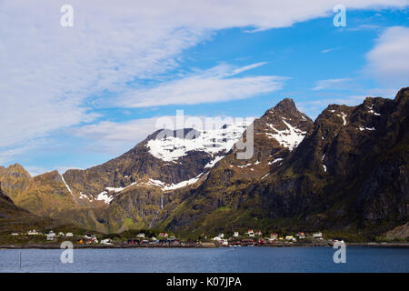 Offshore view to mountains and village of Å, Moskenes, Moskenesøya Island, Lofoten Islands, Nordland, Norway, Scandinavia - Stock Image