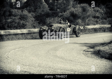 PESARO COLLE SAN BARTOLO , ITALY - MAY 17 - 2018 : ASTON MARTIN 2 LITRE SPEED MODEL 1936 on an old racing car in rally Mille Miglia 2018 the famous it - Stock Image