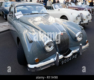 Three-quarter front view of a  1958 Jaguar XK150 on display at the Regents Street Motor Show 2018 - Stock Image
