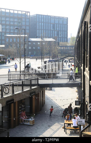 Cafes and shops on trendy Lower Stable Street at Coal Drops Yard, at Kings Cross, London, UK - Stock Image
