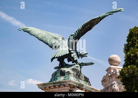 Eagle Statue Buda Castle Budapest - Stock Image