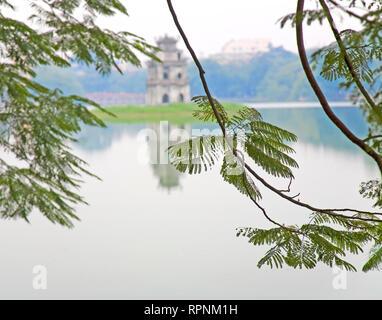 Tree with View of Hoan Kiem Lake, Hanoi, Vietnam, Asia - Stock Image