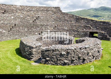 This stone fort is particularly impressive with a massive dry-stone wall.There are flights of steps and terraces in the inner face of the wall.Located - Stock Image