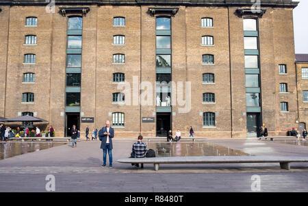 Kings Cross, London, England UK - November 2018: Central Saint Martins - University of the Arts London UAL exterior from Granary square, Kings cross,  - Stock Image