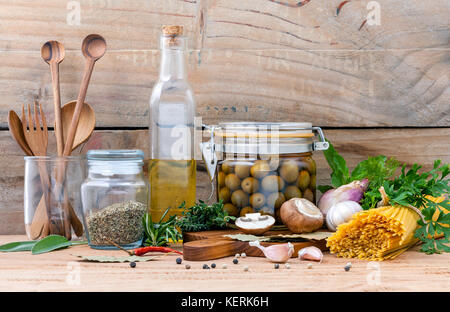 Italian food concept pasta with vegetables olive oil flavored and sesame oil with spices herb rosemary ,thyme,dill,sage,parsley - Stock Image