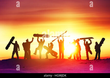 Group happy friends ski resort - Stock Image
