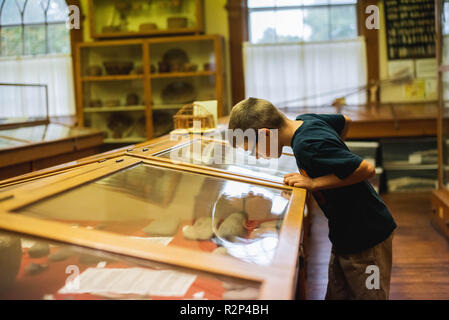 A 12-year old boy looks at a display of artifacts at a smalltown museum in the United States. - Stock Image