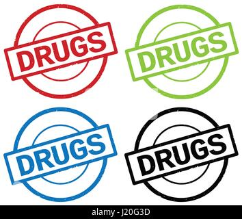 DRUGS text, on round simple stamp sign, in color set. - Stock Image