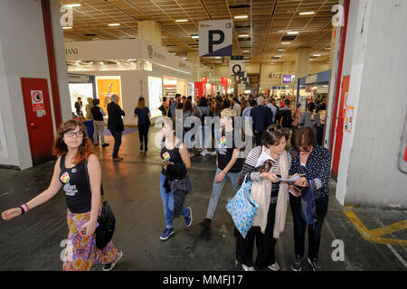 Turin, Piedmont, Italy, 10th May, 2018. International Book fair 2018,first day.People visiting the book fair. Credit: RENATO VALTERZA/Alamy Live News - Stock Image