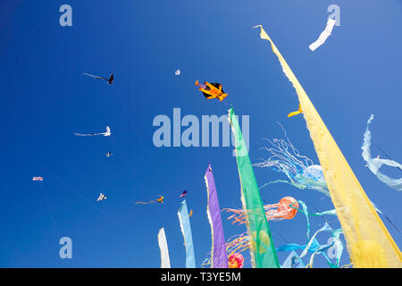 Beautiful kites in a kite festival - Stock Image