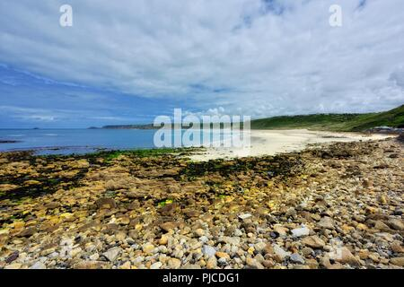 Sennen Cove Beach at low tide,Cornwall,England,UK - Stock Image