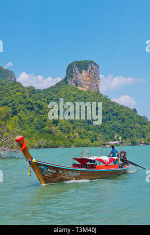 Long tail boat, east Railay, Railay, Krabi province, Thailand - Stock Image