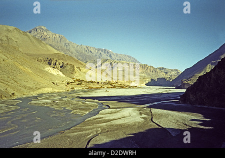 Upper Mustang restricted area and Kali Gandaki valley high altitude desert from Kagbeni on Annapurna circuit Himalyas - Stock Image