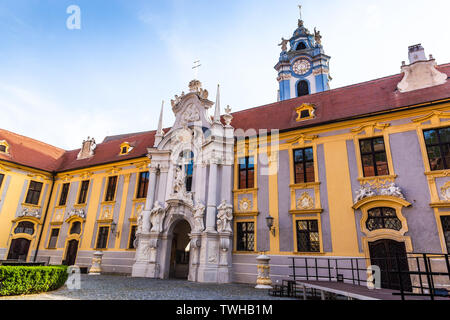 Durnstein abbey of the Augustinian Canons, Wachau valley. Austria. - Stock Image
