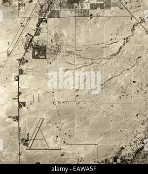 historical aerial photograph McCarran Airport, Las Vegas, Nevada, 1958 - Stock Image