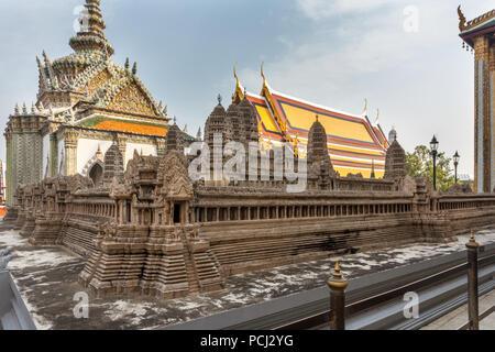 Model of Angkor Wat in the Grand Palace, Bangkok, Thailand - Stock Image
