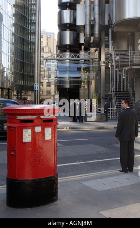 English Post Box and City Gent near the Lloyds Building London September 2007 - Stock Image