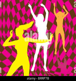 Retro dancing girl silhouettes - Stock Image