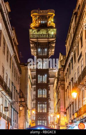 Elevador de Santa Justa or Santa Justa Lift, Lisbon, Portugal - Stock Image