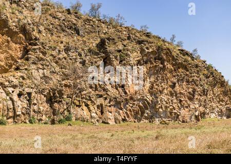 Basalt columns and volcanic geology forming cliffs, Hells Gate National Park, Kenya - Stock Image