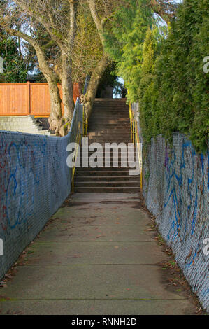 A concrete stairway along a pathway in between houses in a neighbourhood of Maple Ridge, British Columbia. - Stock Image