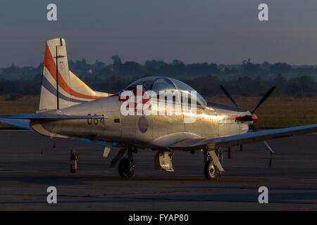 Sunset reflections Krila oluje Wings of storm aerobatic group Croatia Croatian HRZ i PZO Zemunik - Stock Image
