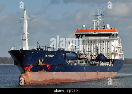 LS Evanne entering Holtenau locks at Kiel. - Stock Image