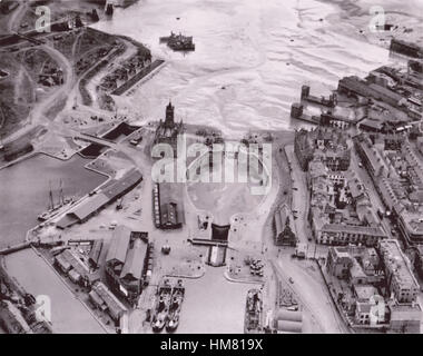 Wales Cardiff Docks South Wales taken in 1939 by the Luftwaffe - Stock Image