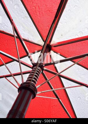 Underside of an umbrella with graphic effect. - Stock Image