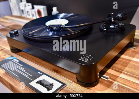 Audio Technica turntable on display in booth at CES (Consumer Electronics Show), the world's largest technology trade show, held in Las Vegas, USA. - Stock Image
