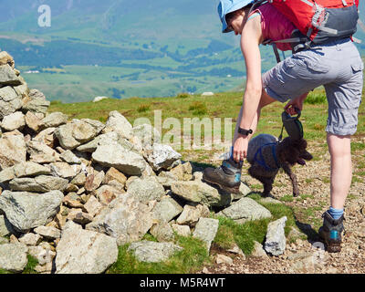 A hiker tying up their boot by a pile of stones, summit cairn, in the English Lake District. - Stock Image