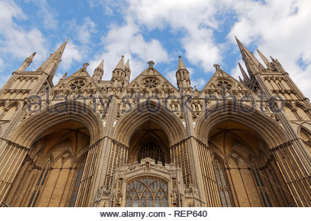 View of the West Front of Peterborough Cathedral, Cambridgeshire, England, UK - Stock Image