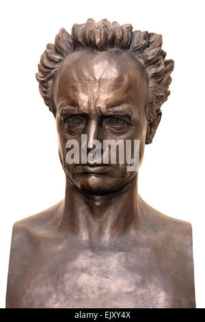 A self-portrait sculpture of Rudolph Tegner in his museum in Dronningmoelle Denmark - Stock Image