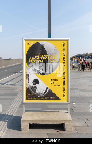 Copenhagen Architecture Festival 2019, Changing Ideals, poster by Inderhavnsbroen, Copenhagen, Denmark - Stock Image