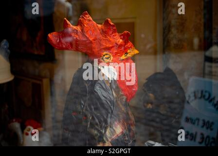 Rooster in paper maché - Stock Image