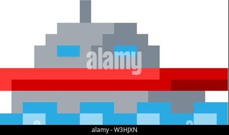 Boat Ship Pixel 8 Bit Video Game Art Icon - Stock Image