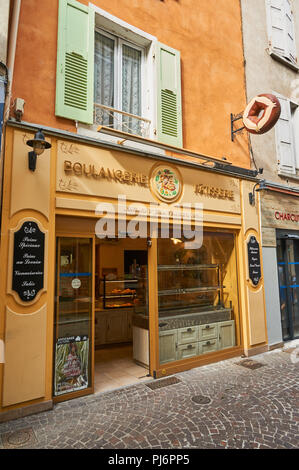 Tournon sur Rhone in the Ardeche department of the Rhone Alps and the front of a boulangerie or bakery shop - Stock Image