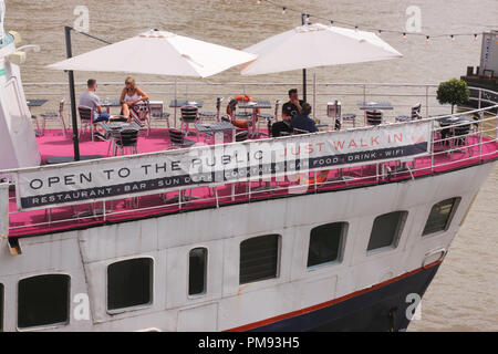 R.S. Hispaniola restauant bar Victoria embankment London summer 2018 - Stock Image
