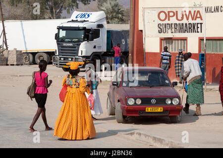 Africa, Namibia, Opuwo. Mixture of cultures at town supermarket. Credit as: Wendy Kaveney / Jaynes Gallery / DanitaDelimont.com - Stock Image