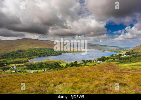 Panorama over Dunlewy Lough, Dunlewy, County Donegal, Ireland - Stock Image