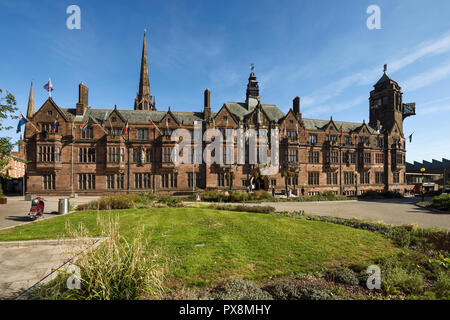 The front facade of Coventry City Council House on Earl Street with the Cathedral spire in the background in Coventry city centre UK - Stock Image