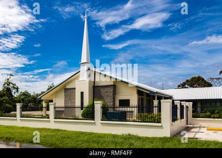 Tongatapu island, Tonga - Jan 4 2014: Typical Mormon church. The Church of Jesus Christ of Latter-day Saints in rural Oceania. Hihifo road, Teekiu vil - Stock Image