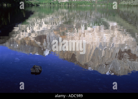 Reflection of Laurel Mountain in Convict Lake, Inyo National Forest, California, USA - Stock Image