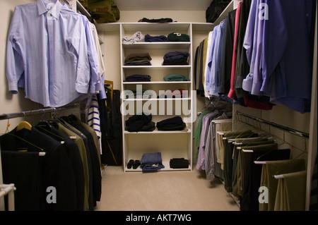 Man s Walk In Closet - Stock Image