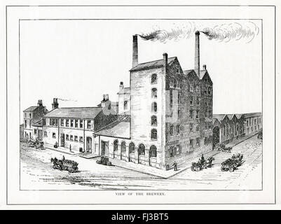 South Street Brewery, Sheffield, 1890 engraving of the Yorkshire brewery founded by William Whitmarsh in 1852 on - Stock Image