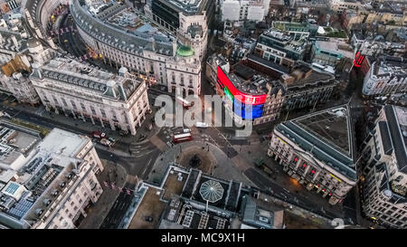 London's Iconic Square Piccadilly Circus Aerial View Famous Landmark Road Junction Piccadilly Lights feat. London Streets in England United Kingdom UK - Stock Image