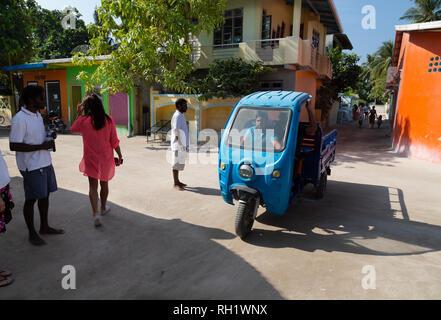 Maldives tuc-tuc   - A tuc-tuc on the street, Ukulhas island, Alif Alif atoll, the maldives Asia - Stock Image