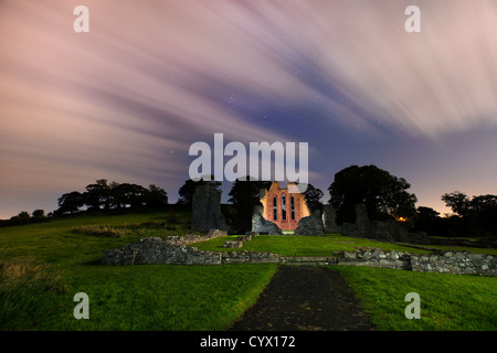 Night shot of Inch Abbey in County Down,  Northern. Ireland - Stock Image