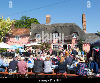 Street party celebrating royal wedding of Prince harry and Meghan Markle, Sorrel Horse  Suffolk, England, UK May 19, 2018  Duke and Duchess of Sussex - Stock Image